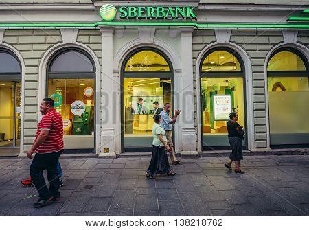 Sarajevo Bosnia and Herzegovina - August 23 2015. People walks in front of Sberbank in Sarajevo