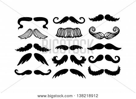 mustache hipster set. Mustache retro curly black silhouette collection beard mustache.