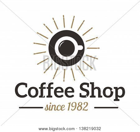 Coffee logo shop sign cafe symbol espresso design morning drink modern badge vector. Coffee logo cafe symbol and morning coffee logo. Coffee mug logo label espresso vintage elements.