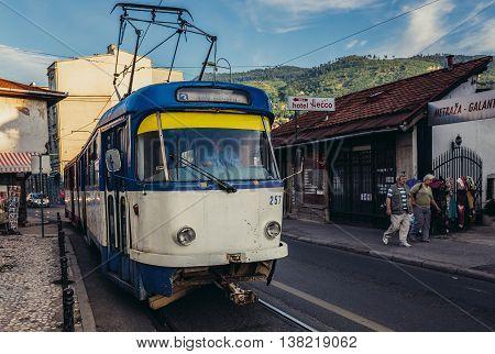 Sarajevo Bosnia and Herzegovina - August 24 2015. Old tramway in Sarajevo
