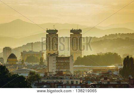 Sarajevo Bosnia and Herzegovina - August 24 2015. Evening view of Sarajevo city