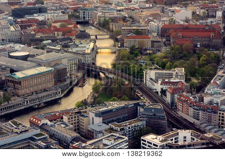 View on Berlin and the river Sprea from above. Picture was taken in Berlin on 20.06.2014.