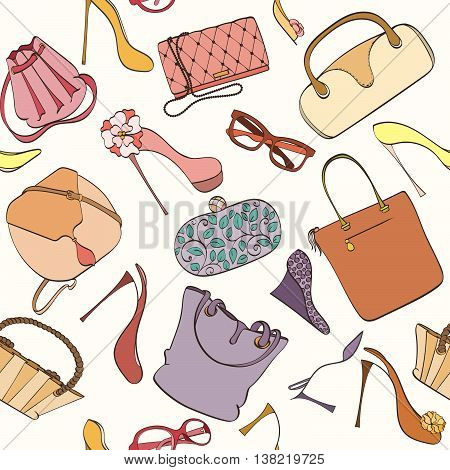 Seamless women fashion pattern can be used for wallpaper, website background, wrapping paper. Fashion women bag and shoes vector bright pattern. Bag and high heels design. Fashion concept.