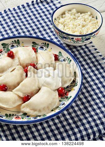 Varenyky. Popular food in Slavic (Polish Slovak Ukrainian Russian) Baltic (Latvian Lithuanian) and other Eastern European cuisines.