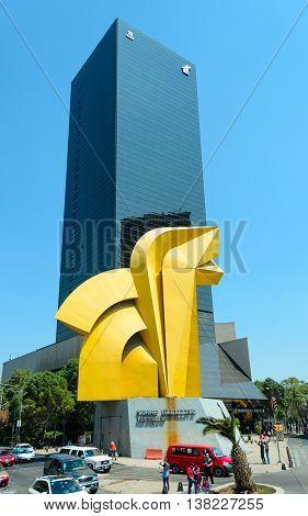 Torre Del Caballito Skyscraper And Caballito Sculpture, Mexico City