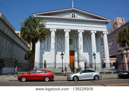 CHARLESTON SC USA 06 25 2016: Hibernian Hall is a historic meeting hall and social venue at 105 Meeting Street in Charleston and a fine example of Greek Revival architecture.