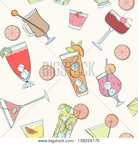 Seamless coctail pattern can be used for wallpaper, website background, wrapping paper. Summer coctail natural bright pattern. Summer design. Food concept.
