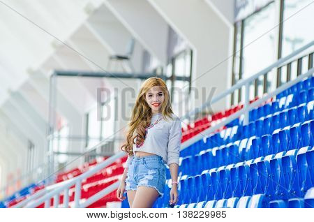 girl Fashion stylish, woman on the grandstand