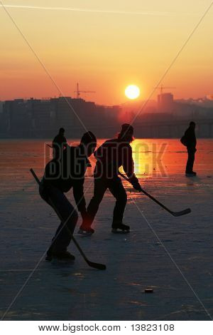 Hockey on sunset