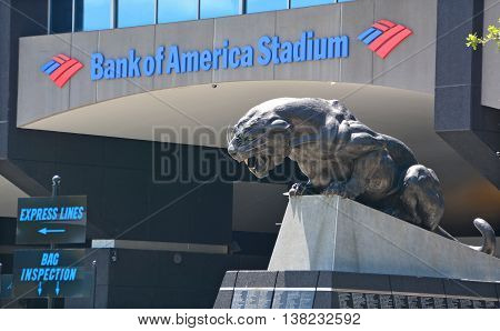 CHARLOTTE NC USA JUNE 20 2016: Bank of America Stadium is a 75,412-seat football stadium in Charlotte, USA. It is the home facility and headquarters of the Carolina Panthers NFL franchise