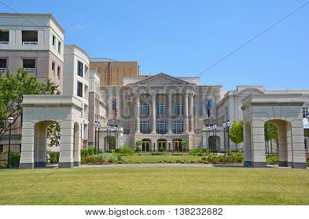 CHARLESTON SC USA JUNE 26 2016: Charleston Municipal Auditorium dedicated to J. Palmer Gaillard, mayor of Charleston from 1959-1975)
