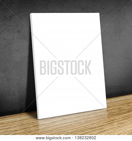 Blank White Poster Frame At Wooden Floor And Black Concrete Wall, Canvas Frame Template Mock Up For