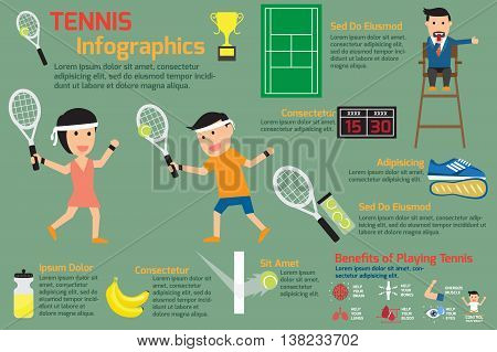 Tennis infographics elements. detail of man and women playing tennis vector illustration.