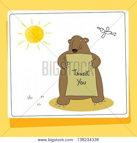 Cute bear thank you card vector illustration. Hand drawn doodle style.