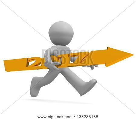Upswing concept with a character holding a golden arrow of 2017 3d rendering