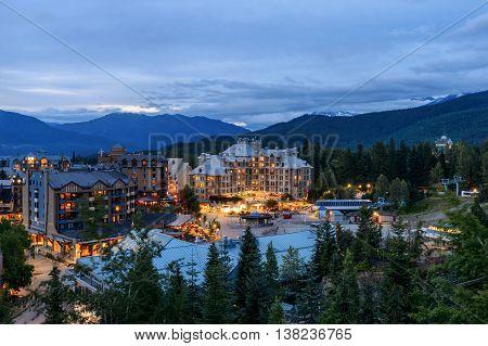 Whistler Village in Vancouver British Columbia Canada.