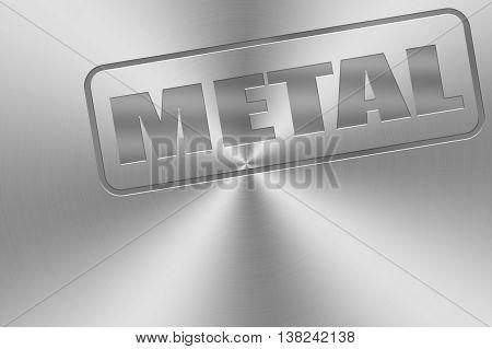 metal word inlay on chrome aluminium texture for metal music theme.