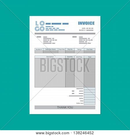 unfill paper invoice form. tax. receipt. bill. vector illustration in flat style on green background