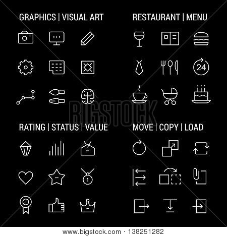 Icons sets: graphics and visual art, restaurant and menu, rating and status, move and copy.