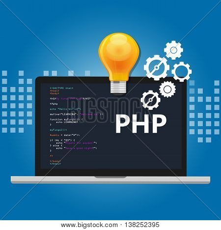 PHP programming language syntax for web coding script in screen vector