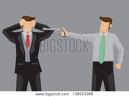 Cartoon man wearing suit in grief and fear because another man pointing a hand gun at him. Vector illustration isolated on grey background.