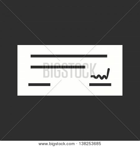 Cheque, signed, receipt icon vector image.Can also be used for shopping. Suitable for use on web apps, mobile apps and print media. poster