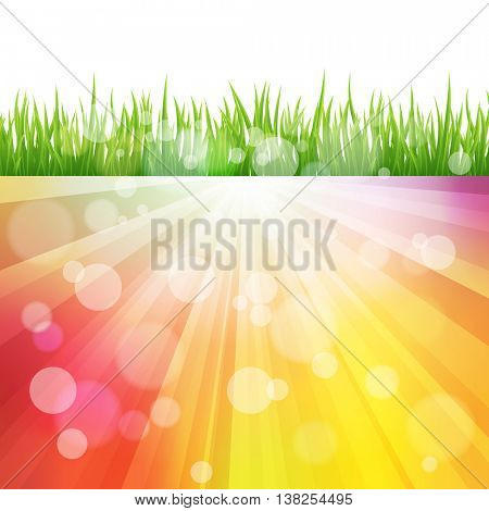 Bright vector color Sun Effect Background with green Grass field. Bokeh effect
