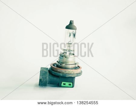 Burnt vehicle light bulb from electrocute short circuit vintage effect