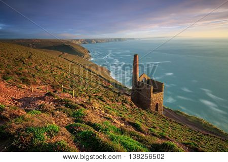 Wheal Coates Tin Mine at sunset cornwall.