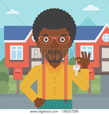 Young male real estate agent holding key. An african-american man with keys standing in front of the house. Happy new owner of a house. Vector flat design illustration. Square layout.