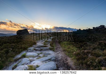 A beautiful sunset path in the Peak District
