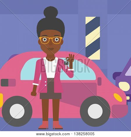 An african-american woman holding keys to her new car. Happy young woman showing key to her new car on the background of car shop. Woman buying car. Vector flat design illustration. Square layout.