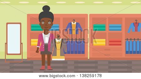 African-american woman holding hanger with dress and jacket. Woman choosing dress at clothing store. Shop assistant offering suit jacket and dress. Vector flat design illustration. Horizontal layout.