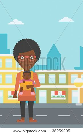 An african-american mother carrying son in sling. Mother with baby in sling walking in the city street. Young mother carrying a newborn in sling. Vector flat design illustration. Vertical layout.