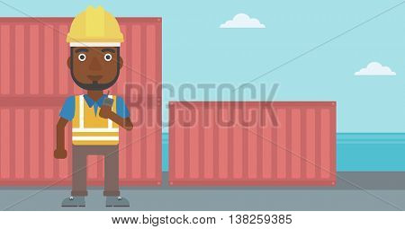An african-american port worker talking on wireless radio. Port worker standing on cargo containers background. Man using wireless radio. Vector flat design illustration. Horizontal layout.