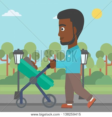 An african-american young father walking with baby stroller in the park. Father walking with his baby in stroller. Father pushing baby stroller. Vector flat design illustration. Square layout.