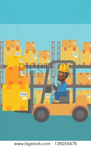 An african-american warehouse worker loading cardboard boxes. Forklift driver at work in storehouse. Warehouse worker driving forklift at warehouse. Vector flat design illustration. Vertical layout.