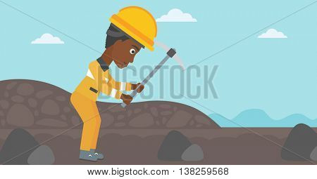 An african-american female miner working with a pickaxe. Mine worker in hard hat. Miner at the coal mine. Vector flat design illustration. Horizontal layout.