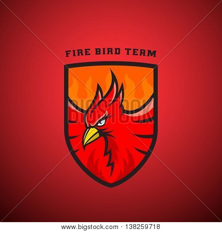 Bird in a Shield Vector Emblem or Logo Template. Fire Phoenix Illustration. Perfect for Sport Team, League Labels. On Red Background.
