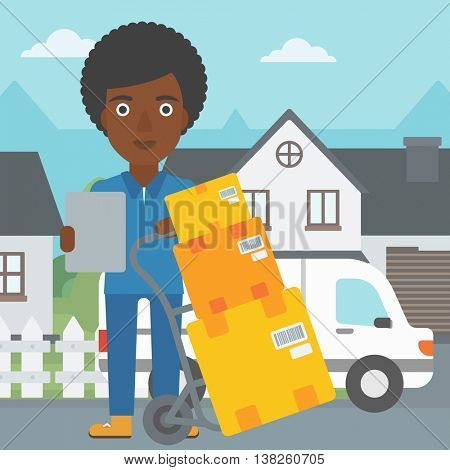 An african-american delivery woman with cardboard boxes on troley. Delivery woman with clipboard. Woman standing in front of delivery van. Vector flat design illustration. Square layout.