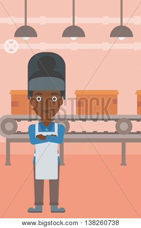 An african-american industrial worker with protective welder mask. Welder with arms crossed on the background of factory workshop with conveyor belt. Vector flat design illustration. Vertical layout.
