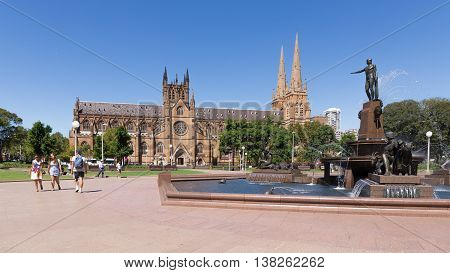 Sydney - February 25 2016: Beautiful gothic Catholic Cathedral of St. Mary a granite fountain Archibald and Hyde Park in fine clear weather February 25 2016 Sydney Australia