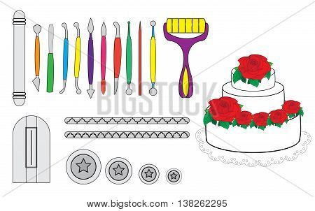 Modelling Tools for Icing & Decorating Sugarpaste Marzipan Pastillage. Tools for cake decorating. Birthday cake vector illustration.