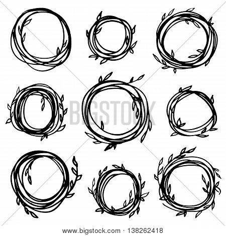 Original vintage frames - set of 9 hand drawn branches. Retro wreath for your design