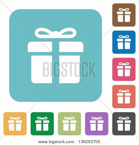 Flat gift box symbol icons on rounded square color backgrounds.