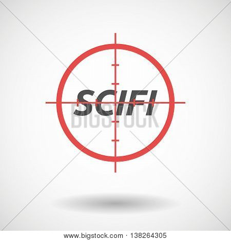 Isolated Red Crosshair Icon With    The Text Scifi