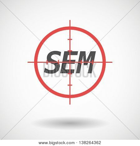 Isolated Red Crosshair Icon With    The Text Sem