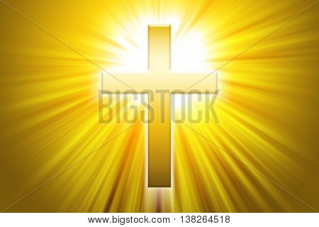 Golden latin cross with sunbeams. Christian cross, the symbol of Christianity, also called  Roman cross in front of beams of light.