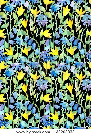 Seamless repeated floral pattern with flowers at black background. Watercolor