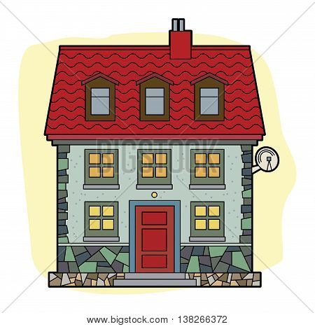 Cartoon House with red roof, vector illustration